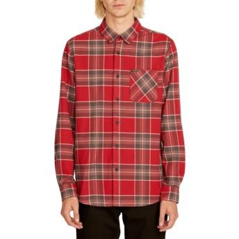 Camisa manga larga roja a cuadros Caden Plaid Burgundy de Volcom