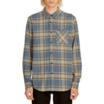 Camisa manga larga azul marino a cuadros Caden Plaid Indigo de Volcom