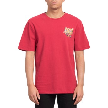 Camiseta manga corta roja Ozzy Tiger Burgundy Heather de Volcom