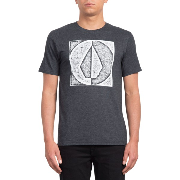 b96b53e6307 Camiseta manga corta negra Stamp Divide Heather Black de Volcom ...