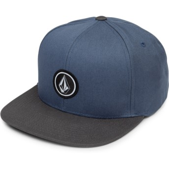 Gorra plana azul snapback con visera negra Quarter Twill Vintage Blue de Volcom