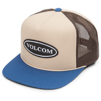 Gorra trucker marrón con visera azul Logger Cheese Sand Brown de Volcom