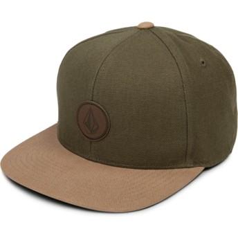 Gorra plana verde snapback con visera marrón Quarter Fabric Army de Volcom