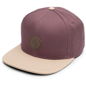 Gorra plana granate snapback con visera marrón Quarter Fabric Bordeaux Brown de Volcom