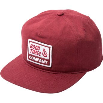 Gorra plana roja snapback Righteous Burgundy de Volcom