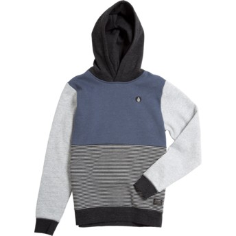 Sudadera con capucha azul marino, gris y negra para niño Forzee Indigo de Volcom