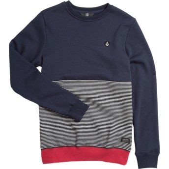 Sudadera sin capucha azul marino, gris y roja para niño Forzee Navy de Volcom