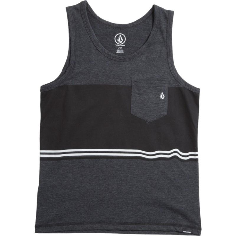 dbb9667dd39 Camiseta de tirantes negra para niño 3 Quarter Heather Black de ...