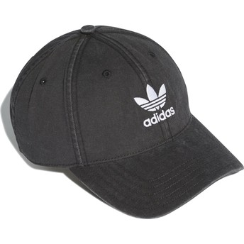 Gorra curva negra ajustable Washed Adicolor de Adidas
