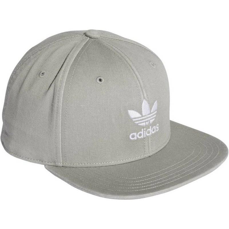Gorra plana gris snapback Trefoil Adicolor de Adidas  comprar online ... 18bd58d6c36