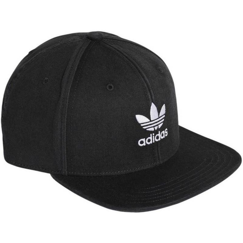 anfitrión Girar a pesar de  Gorra plana negra snapback Trefoil Adicolor de Adidas: Caphunters.es