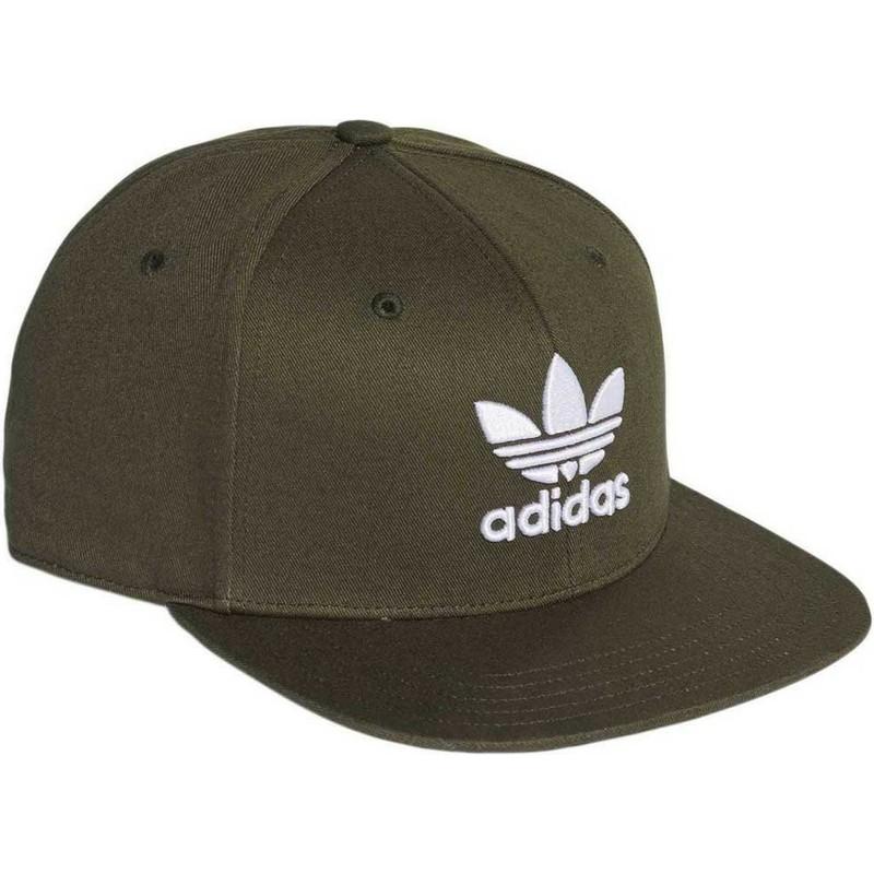 Gorra plana verde snapback Trefoil de Adidas  comprar online en ... 5aaf744901f