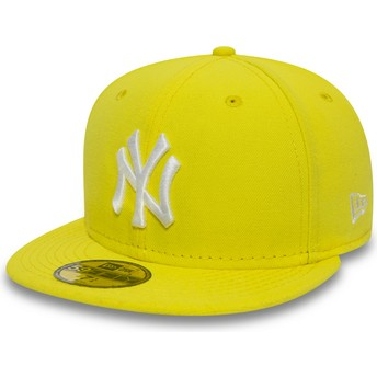 Gorra plana amarilla ajustada 59FIFTY Essential de New York Yankees MLB de New Era