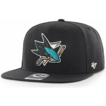 Gorra plana negra snapback Captain No Shot de San Jose Sharks NHL de 47 Brand