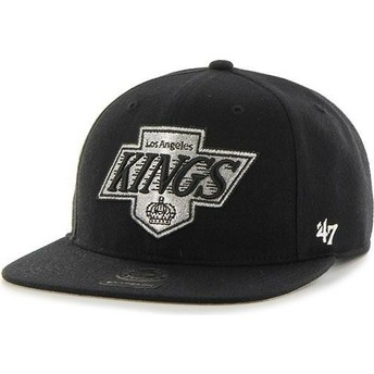 Gorra plana negra snapback Captain No Shot de Los Angeles Kings NHL de 47 Brand
