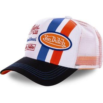 Gorra trucker blanca y naranja MCQORA de Von Dutch