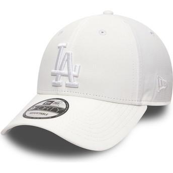 Gorra curva blanca ajustable con logo blanco 9FORTY Nano Ripstop de Los Angeles Dodgers MLB de New Era