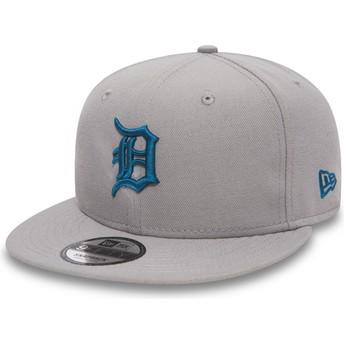 Gorra plana gris snapback con logo azul 9FIFTY Essential League de Detroit Tigers MLB de New Era