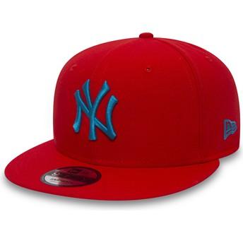 Gorra plana roja snapback con logo azul 9FIFTY Essential League de New York Yankees MLB de New Era