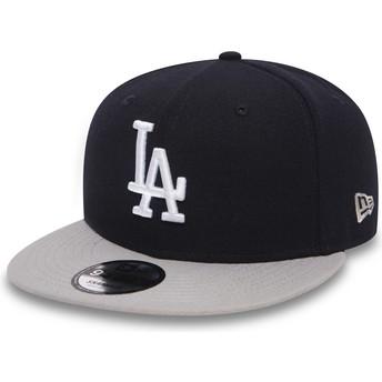 Gorra plana negra snapback con visera gris 9FIFTY Team de Los Angeles Dodgers MLB de New Era