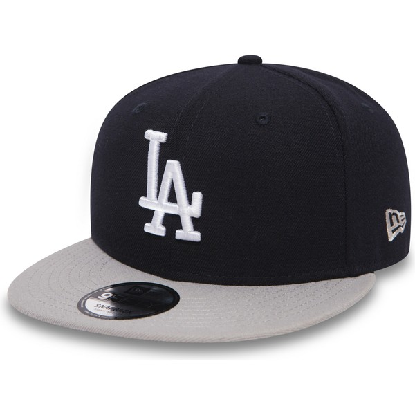 ... Los Angeles Dodgers MLB de New Era. gorra-plana-negra -snapback-con-visera-gris-9fifty- 5ad07589187
