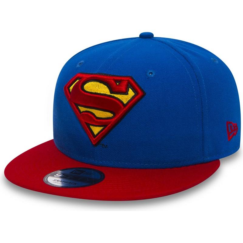 87e0f2b6c9a27 ... Superman Warner Bros de New Era. gorra -plana-azul-snapback-con-visera-roja-9fifty-
