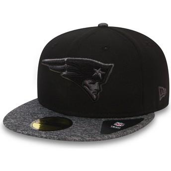 Gorra plana negra ajustada 59FIFTY Grey Collection de New England Patriots NFL de New Era