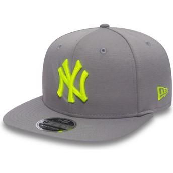 Gorra plana gris snapback con logo verde 9FIFTY Jersey Pop de New York Yankees MLB de New Era