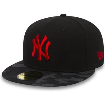 Gorra plana negra ajustada con logo rojo 59FIFTY Contrast Camo de New York Yankees MLB de New Era