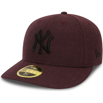 Gorra plana granate ajustada con logo negro 59FIFTY Low Profile Heather de New York Yankees MLB de New Era