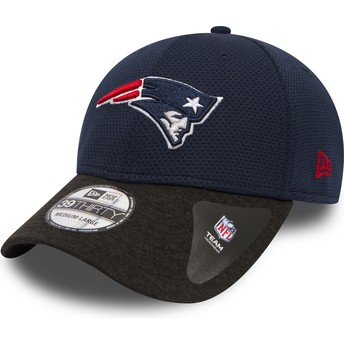 Gorra curva azul marino ajustada con visera negra 39THIRTY Shadow Tech de New England Patriots NFL de New Era