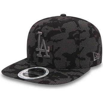 Gorra plana negra snapback con logo gris 9FIFTY Night Time Reflective de Los Angeles Dodgers MLB de New Era