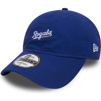 Gorra curva azul ajustable 9FORTY Mini Wordmark de Kansas City Royals MLB de New Era