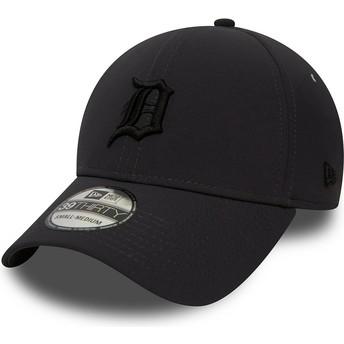 Gorra curva negra ajustada con logo negro 39THIRTY Team Clean de Detroit Tigers MLB de New Era