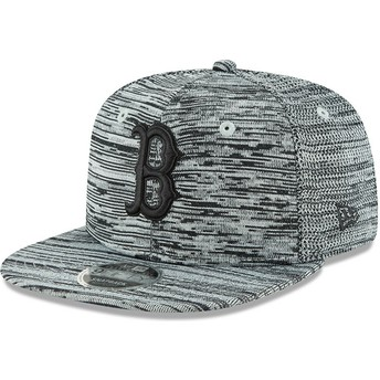 Gorra plana gris snapback con logo negro 9FIFTY Engineered Fit de Boston Red Sox MLB de New Era