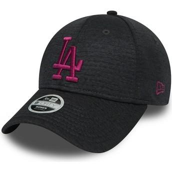 Gorra curva gris ajustable con logo rosa 9FORTY Essential Jersey de Los Angeles Dodgers MLB de New Era