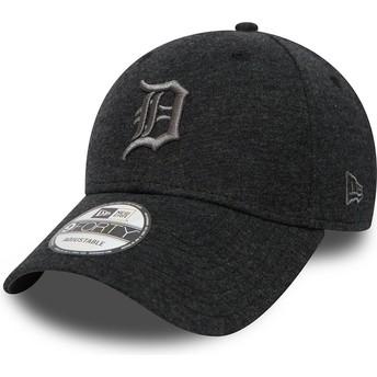 Gorra curva negra ajustable con logo gris 9FORTY Essential Jersey de Detroit Tigers MLB de New Era