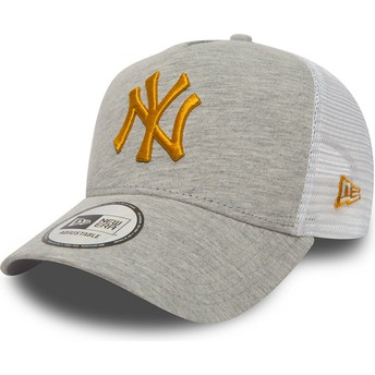 Gorra trucker gris con logo amarillo 9FORTY Essential Jersey de New York Yankees MLB de New Era