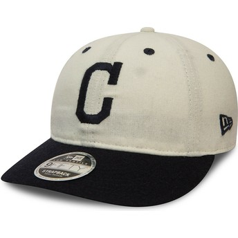 Gorra plana blanca snapback 9FIFTY Low Profile Flannel de Cleveland Indians MLB de New Era