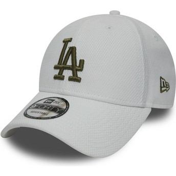 Gorra curva blanca ajustable con logo verde 9FORTY Diamond Era de Los Angeles Dodgers MLB de New Era