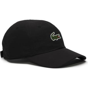 Gorra curva negra ajustable Croc Microfibre de Lacoste