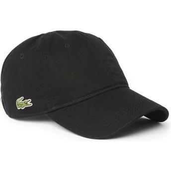 Gorra curva negra ajustable Basic Side Crocodile de Lacoste