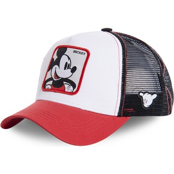 Gorra trucker blanca, negra y roja Mickey Mouse MIC4 Disney de Capslab