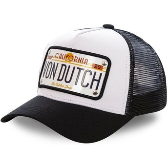Gorra trucker blanca y negra con placa California CAL1 de Von Dutch