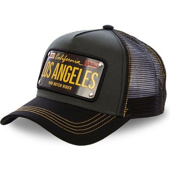 Gorra trucker negra con placa Los Angeles LOS2 de Von Dutch