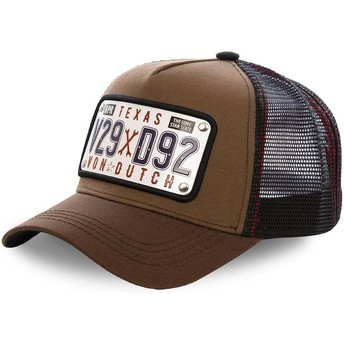 Gorra trucker marrón con placa Texas TEX1 de Von Dutch