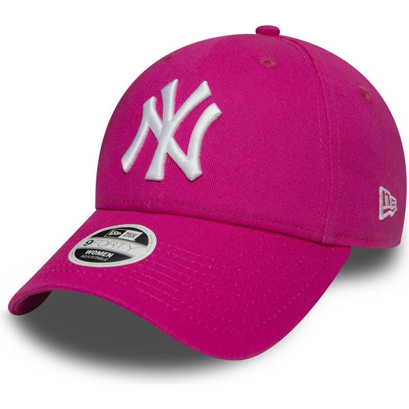 b5a96f5b1dfc7 Gorra curva rosa ajustable 9FORTY Essential de New York Yankees MLB ...