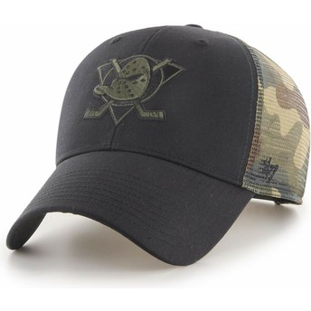 Gorra trucker negra y camuflaje MVP Back Switch de Anaheim Ducks NHL de 47 Brand
