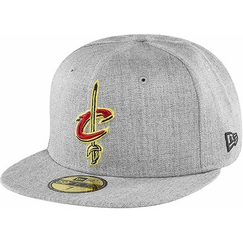 Gorra plana gris ajustada 59FIFTY Heather de Cleveland Cavaliers NBA de New Era