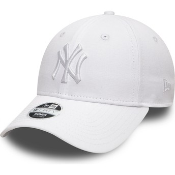 Gorra curva blanca ajustable con logo blanco 9FORTY League Essential de New York Yankees MLB de New Era